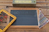 School slate, hand-made wiping cloth, vintage pencil box and colourful abacus