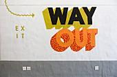 Graphic graffito in block lettering
