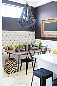 Eclectic dining room in dark grey and white