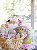 Baskets of toys for baby shower