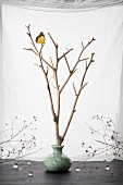 Butterfly perching on branches in ceramic vase