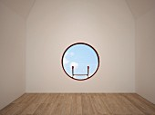 Empty room with porthole window; 3D rendering