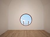 Eine Leiter fürht zu leerem Dachzimmer mit rundem Fenster, 3D-Rendering