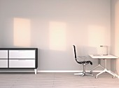 Empty modern office at twilight; 3D rendering