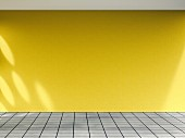 3D rendering of empty room with yellow wall and tiled floor