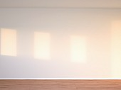 Empty room with white wall; 3D rendering