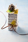 Christmas present wrapped in sheet music