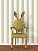 Vintage armchair with rabbit ears against striped wallpaper, 3D rendering