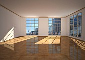 Empty apartment in a city, 3D illustration