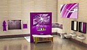Modern bathroom with purple elements - 3D rendering