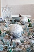 Christmas decorations on set table