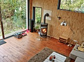Empty living room with log burner