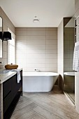 Modern bathroom in gray tones with herringbone pattern
