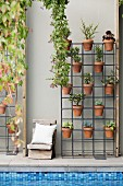 Clay pots with green plants suspended in a metal frame next to a vintage wooden chair against a gray house wall