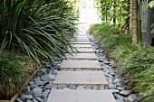 Garden path with stone slabs and pebbles between green plants