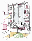 Illustration: a window integrated into a wall full of bookshelves