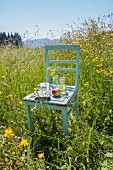 Snack on old kitchen chair in flowering meadow