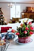 Adventsgesteck mit roten Tulpen und Tannenzweigen in Blechdose
