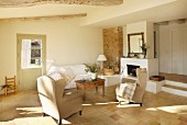 Terracotta floor in Mediterranean living room in natural shades