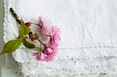 Pink cherry blossom on folded white fabric