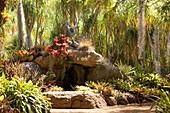 Höle im exotischen Garten mit Bromelien und Palmen