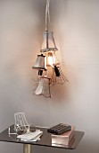 Hand-made pendant lamp made from several lampshades
