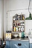 Spice rack in vintage kitchen
