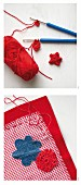 Decorating a red and white place mat with crocheted flowers