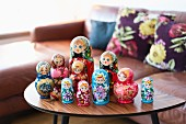 Collection of Russian dolls on retro coffee table