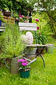Flowering plants planted in watering can next to chair in garden