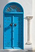 Blue door with fanlight