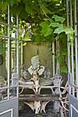 View into vine-covered romantic pavillion