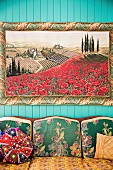 Image of Tuscan landscape over sofa with patterned cover
