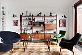 Retro-style living room with shelves and parquet floors