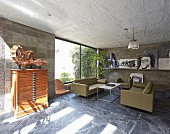 Artistic living room in concrete house