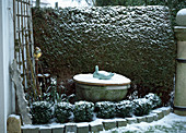 Brunnen im Winter mit Holzbrett abgedeckt