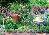 Herb bed, Thymus, Mentha, Melissa, Origanum