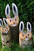 Wooden trunks Easter bunnies