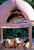 Mobile pizza oven made of 8 parts