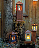 Garden lamps and house lights made of winterproof clay