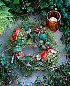 Grave decorations, wreath of driftwood bound with wire, larch