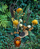 Grave decorations, arrangement, wood, juniper branches, cones