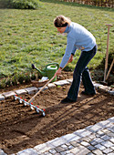 Sow corn salad, preparing the flower bed with the scythe-puller