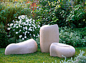 Weatherproof ceramic sculptures suitable as a seat