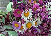 Bouquet with Erigeron (fine blaster), marguerite, ornamental sage