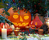 Halloween, hollowed out squashes
