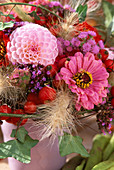 Bouquet of Dahlia, Zinnia, Pennisetum Feathered Grass, Ivy Hedera