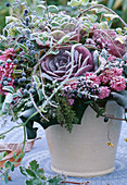 Bouquet with ornamental cabbage, Ligustrum vulgare, autumn chrysanthemums