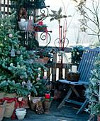 Adventlich geschmücktes Eck auf dem Balkon mit Rauhreif