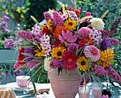 Summer bouquet with Rudbeckia (sun hat), Cosmos (jewelry basket)